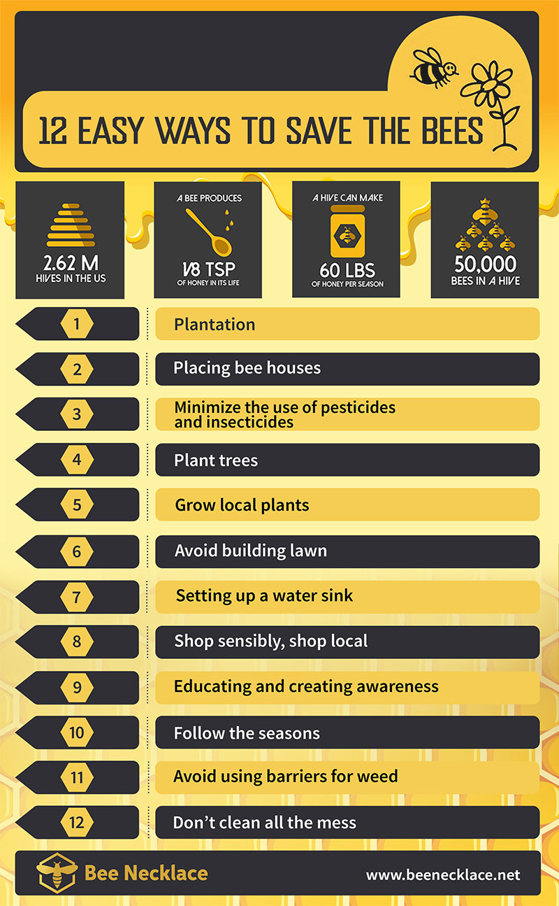 12 ways to save the bees infographic