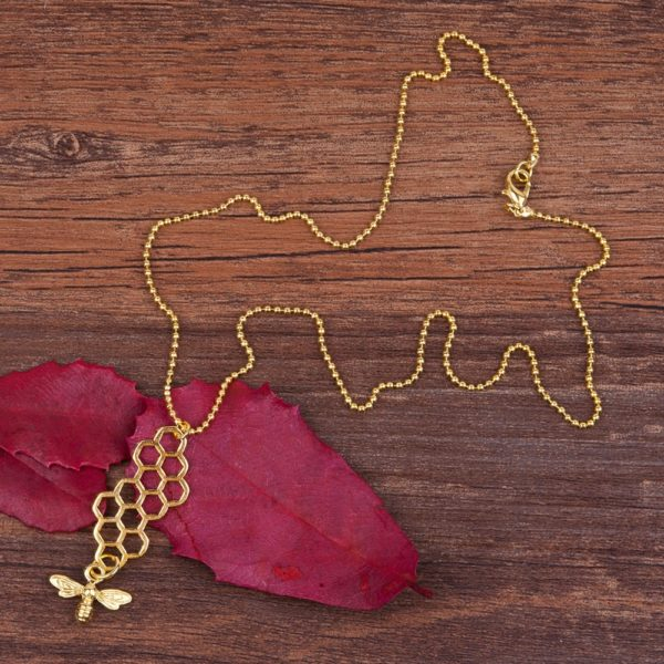 honeycomb bee necklace etsy