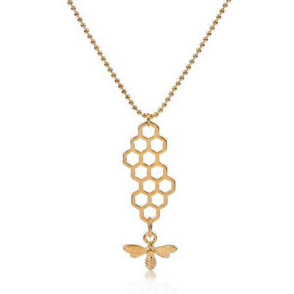 honeycomb bee necklace