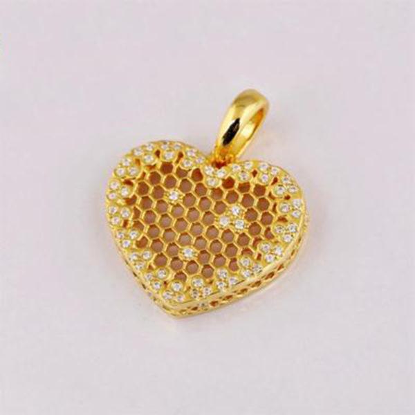 bee heart honeycomb necklace