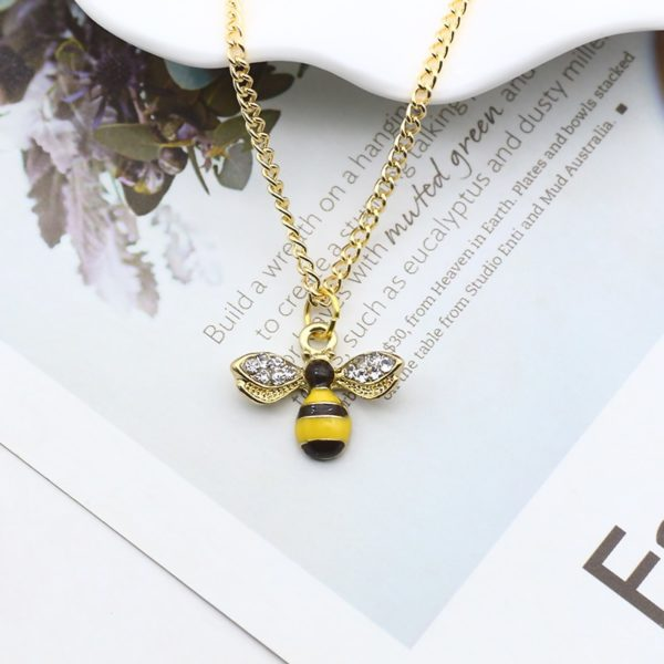 bumble bee necklace rose gold