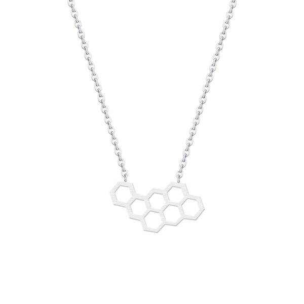 silver honeycomb bee necklace