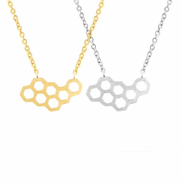linsh womens girls honeycomb bee pendant necklace