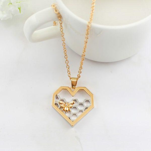 heart honeycomb bee animal pendant choker necklace