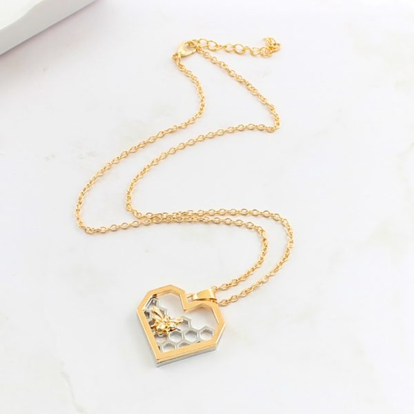 honeycomb bee gold plated necklace