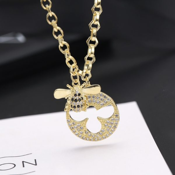 bee necklace gold