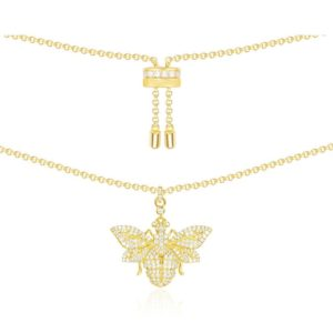 Zirconia gold bumble bee necklace