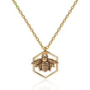 honeycomb bee necklace rose gold